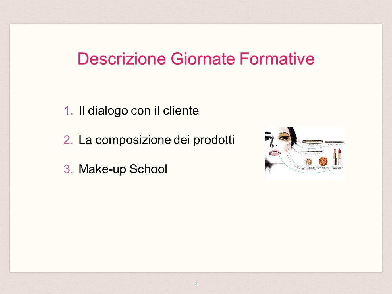 6 1. Il dialogo con il cliente 2. La composizione dei prodotti 3. Make-up School Descrizione Giornate Formative