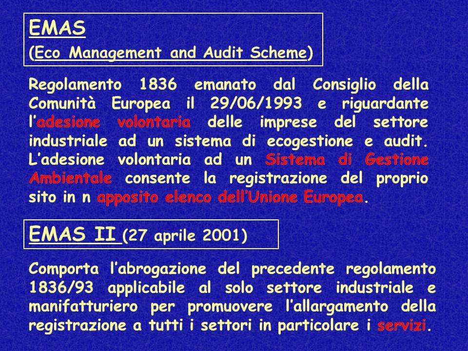 EMAS (Eco Management and Audit Scheme) Regolamento 1836 emanato dal Consiglio della Comunità Europea il 29/06/1993 e riguardante l'adesione volontaria delle imprese del settore industriale ad un sistema di ecogestione e audit.