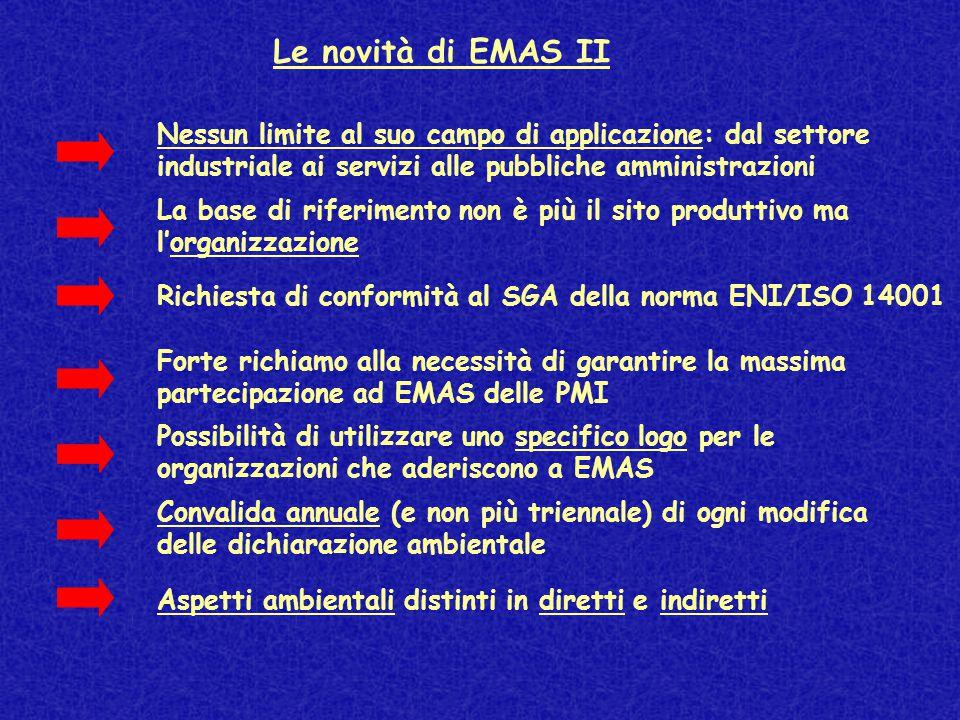 Le novità di EMAS II Possibilità di utilizzare uno specifico logo per le organizzazioni che aderiscono a EMAS Aspetti ambientali distinti in diretti e indiretti Richiesta di conformità al SGA della norma ENI/ISO 14001 Forte richiamo alla necessità di garantire la massima partecipazione ad EMAS delle PMI Convalida annuale (e non più triennale) di ogni modifica delle dichiarazione ambientale La base di riferimento non è più il sito produttivo ma l'organizzazione Nessun limite al suo campo di applicazione: dal settore industriale ai servizi alle pubbliche amministrazioni