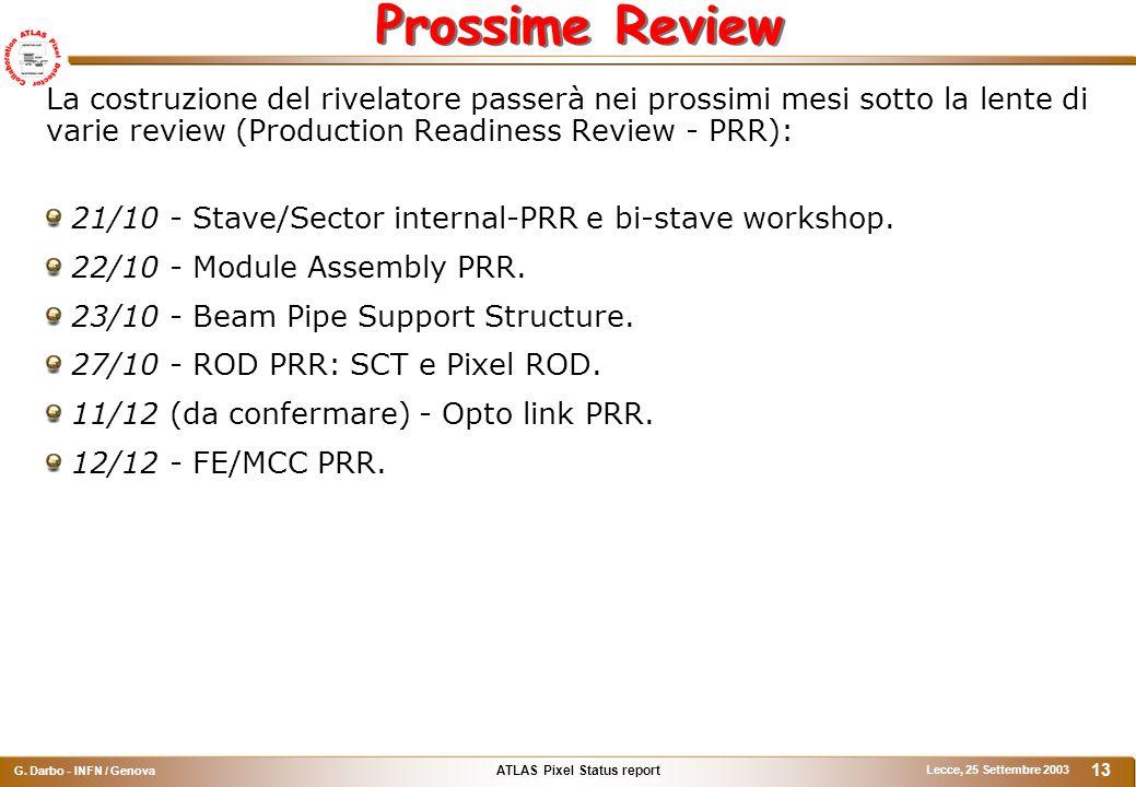 ATLAS Pixel Status report G. Darbo - INFN / Genova Lecce, 25 Settembre 2003 13 Prossime Review La costruzione del rivelatore passerà nei prossimi mesi