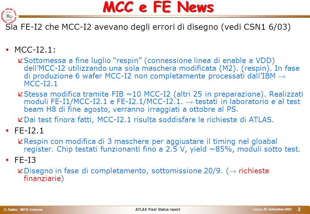 ATLAS Pixel Status report G. Darbo - INFN / Genova Lecce, 25 Settembre 2003 2 MCC e FE News Sia FE-I2 che MCC-I2 avevano degli errori di disegno (vedi
