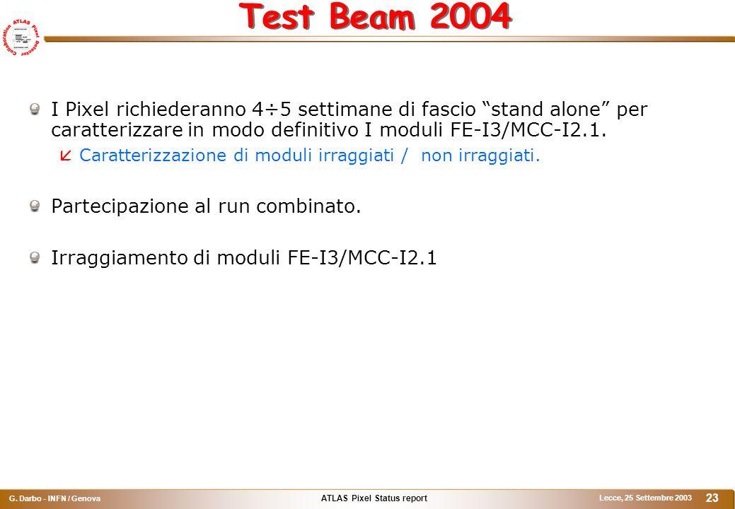 """ATLAS Pixel Status report G. Darbo - INFN / Genova Lecce, 25 Settembre 2003 23 Test Beam 2004 I Pixel richiederanno 4÷5 settimane di fascio """"stand alo"""