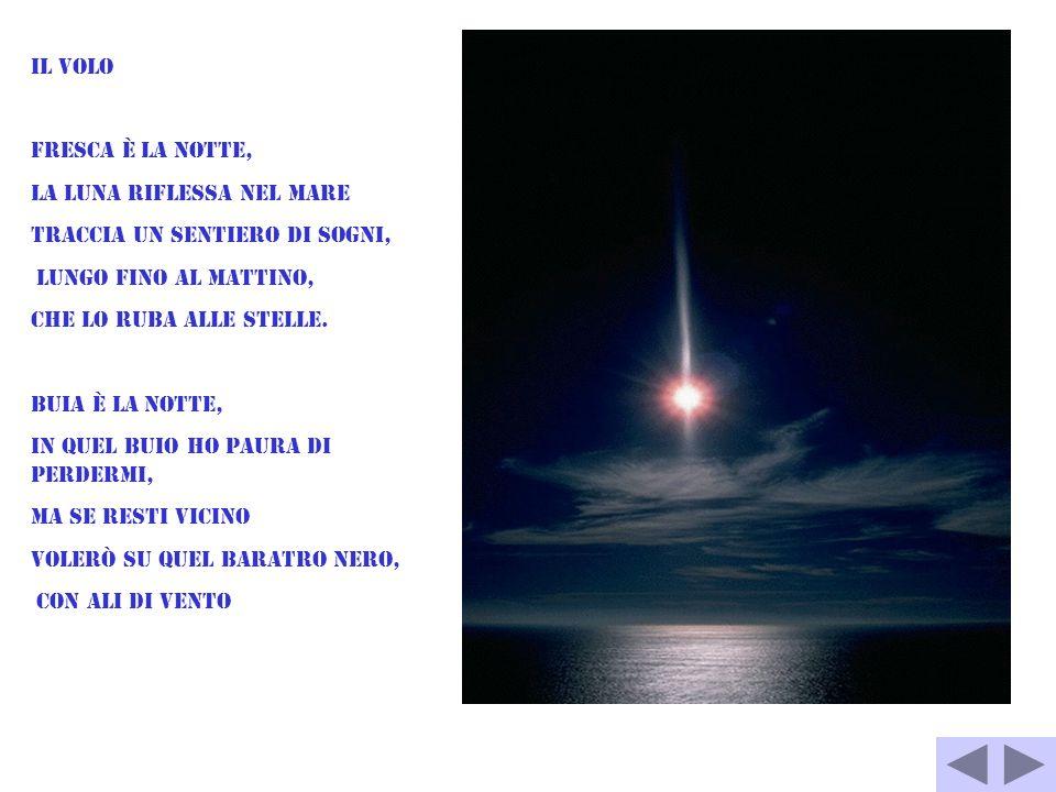 Il volo Fresca è la notte, la luna riflessa nel mare traccia un sentiero di sogni, lungo fino al mattino, che lo ruba alle stelle. Buia è la notte, in