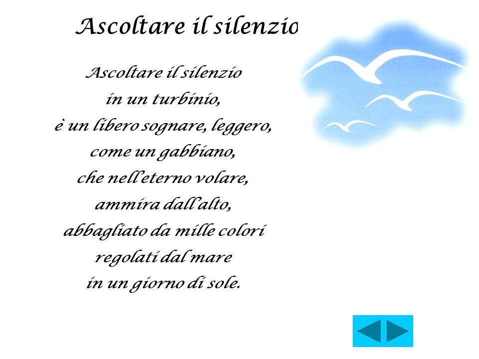 Ascoltare il silenzio in un turbinio, è un libero sognare, leggero, come un gabbiano, che nell'eterno volare, ammira dall'alto, abbagliato da mille co