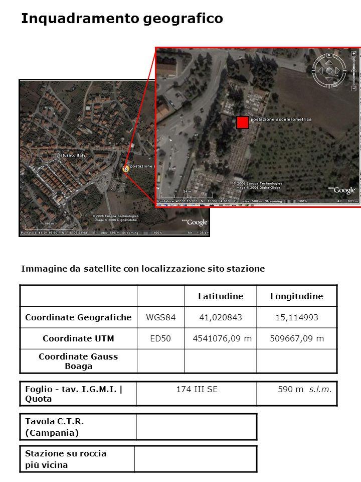Dati acquisiti dalla stazione Stazione di STURNO N° di registrazioni acquisite PGA max registrata [cm/s 2 ] Data evento in cui si è registrata il max valore di accelerazione 10327,34623/11/1980