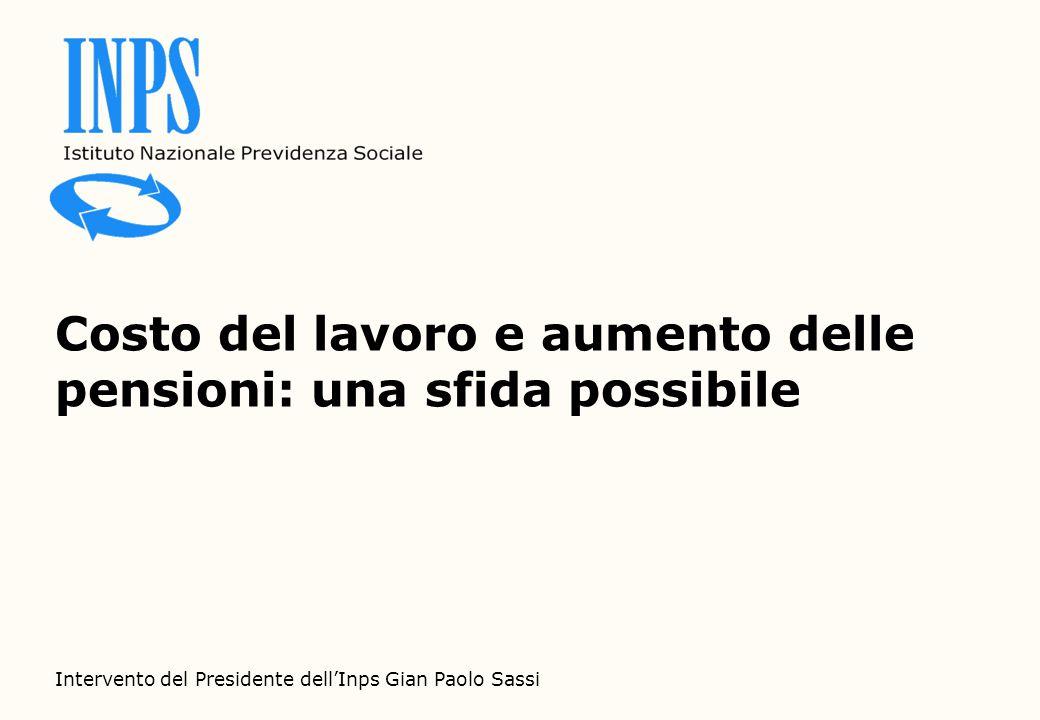 Costo del lavoro e aumento delle pensioni: una sfida possibile Intervento del Presidente dell'Inps Gian Paolo Sassi