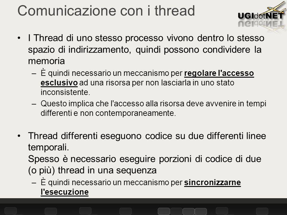Comunicazione con i thread I Thread di uno stesso processo vivono dentro lo stesso spazio di indirizzamento, quindi possono condividere la memoria –È quindi necessario un meccanismo per regolare l accesso esclusivo ad una risorsa per non lasciarla in uno stato inconsistente.