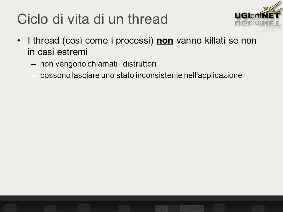 Ciclo di vita di un thread I thread (così come i processi) non vanno killati se non in casi estremi –non vengono chiamati i distruttori –possono lasciare uno stato inconsistente nell applicazione