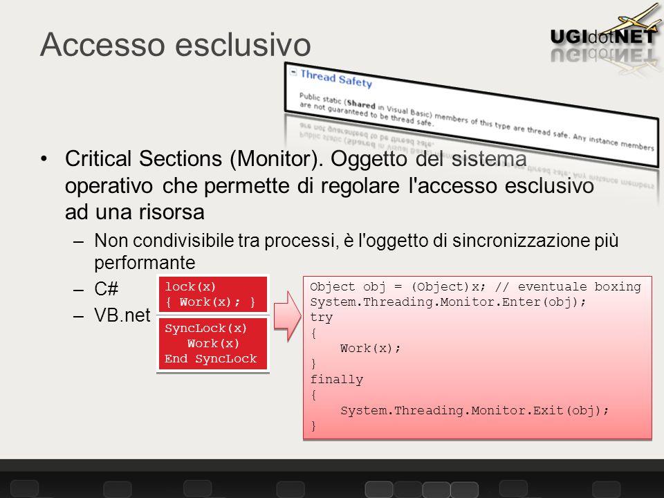 Accesso esclusivo Critical Sections (Monitor).