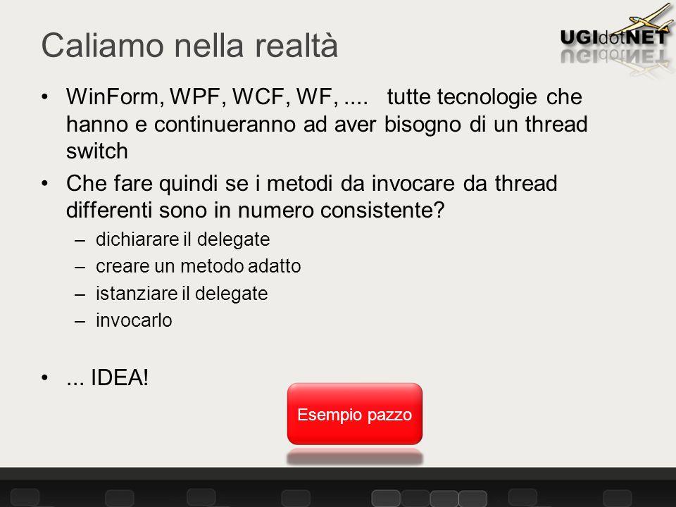 Caliamo nella realtà WinForm, WPF, WCF, WF,....
