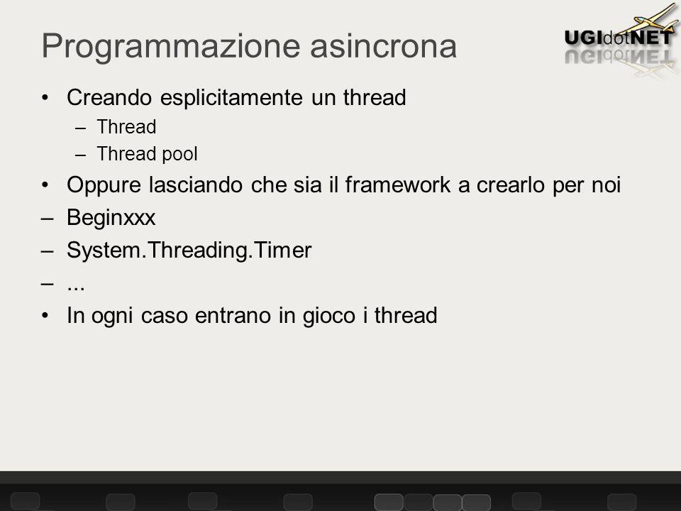Programmazione asincrona Creando esplicitamente un thread –Thread –Thread pool Oppure lasciando che sia il framework a crearlo per noi –Beginxxx –System.Threading.Timer –...