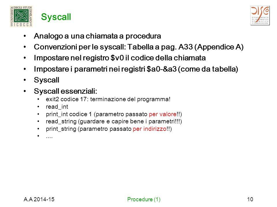 Syscall Analogo a una chiamata a procedura Convenzioni per le syscall: Tabella a pag. A33 (Appendice A) Impostare nel registro $v0 il codice della chi
