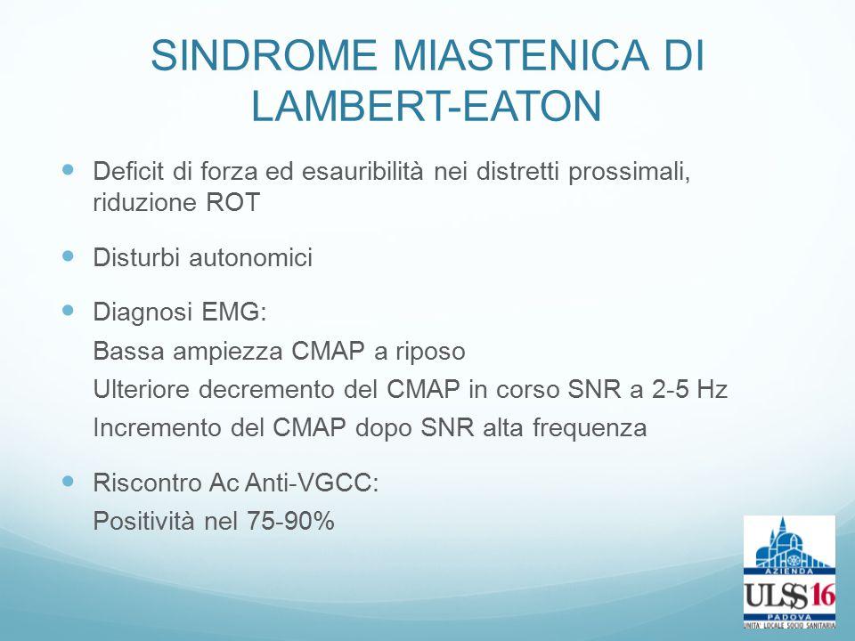 SINDROME MIASTENICA DI LAMBERT-EATON Deficit di forza ed esauribilità nei distretti prossimali, riduzione ROT Disturbi autonomici Diagnosi EMG: Bassa ampiezza CMAP a riposo Ulteriore decremento del CMAP in corso SNR a 2-5 Hz Incremento del CMAP dopo SNR alta frequenza Riscontro Ac Anti-VGCC: Positività nel 75-90%