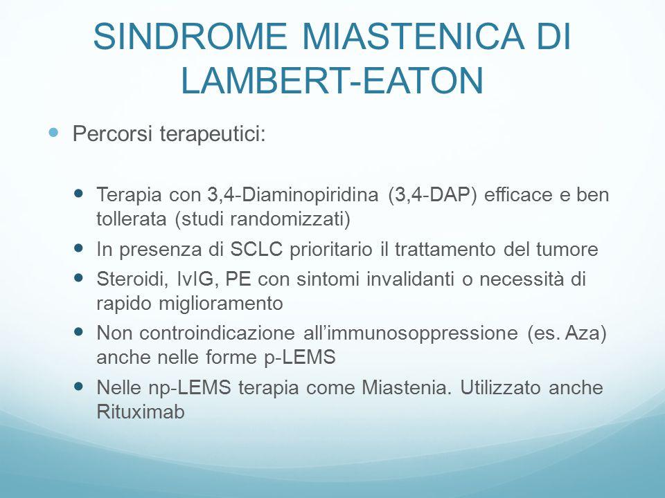 Percorsi terapeutici: Terapia con 3,4-Diaminopiridina (3,4-DAP) efficace e ben tollerata (studi randomizzati) In presenza di SCLC prioritario il tratt