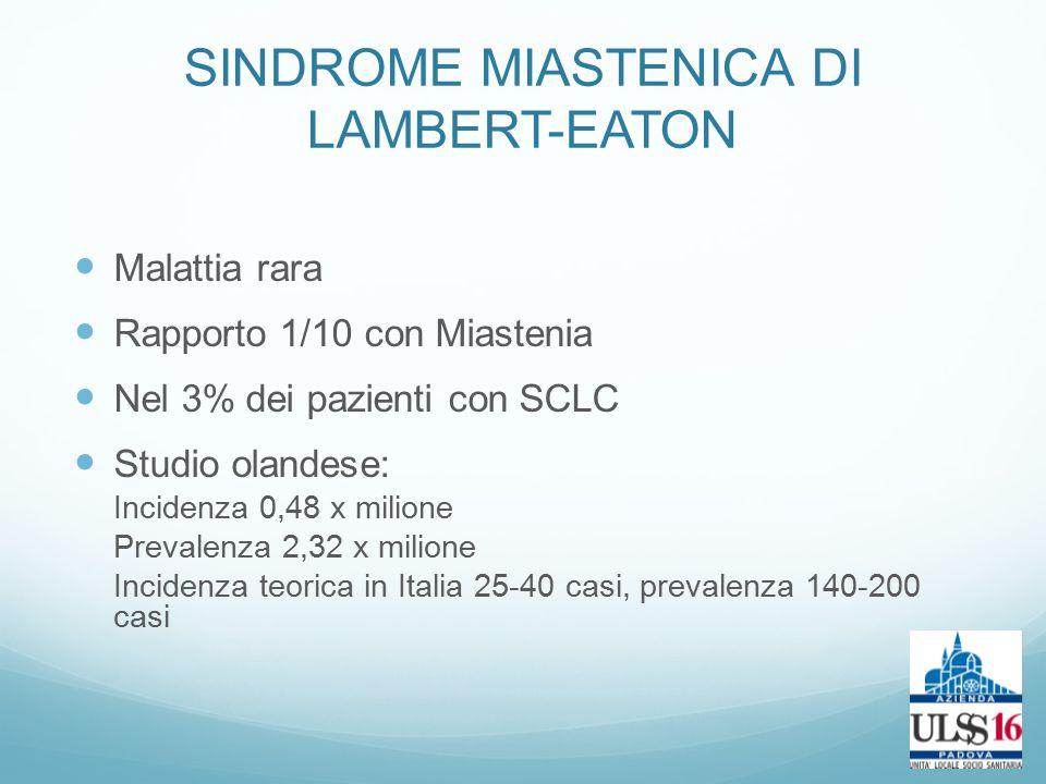 SINDROME MIASTENICA DI LAMBERT-EATON Malattia rara Rapporto 1/10 con Miastenia Nel 3% dei pazienti con SCLC Studio olandese: Incidenza 0,48 x milione Prevalenza 2,32 x milione Incidenza teorica in Italia 25-40 casi, prevalenza 140-200 casi