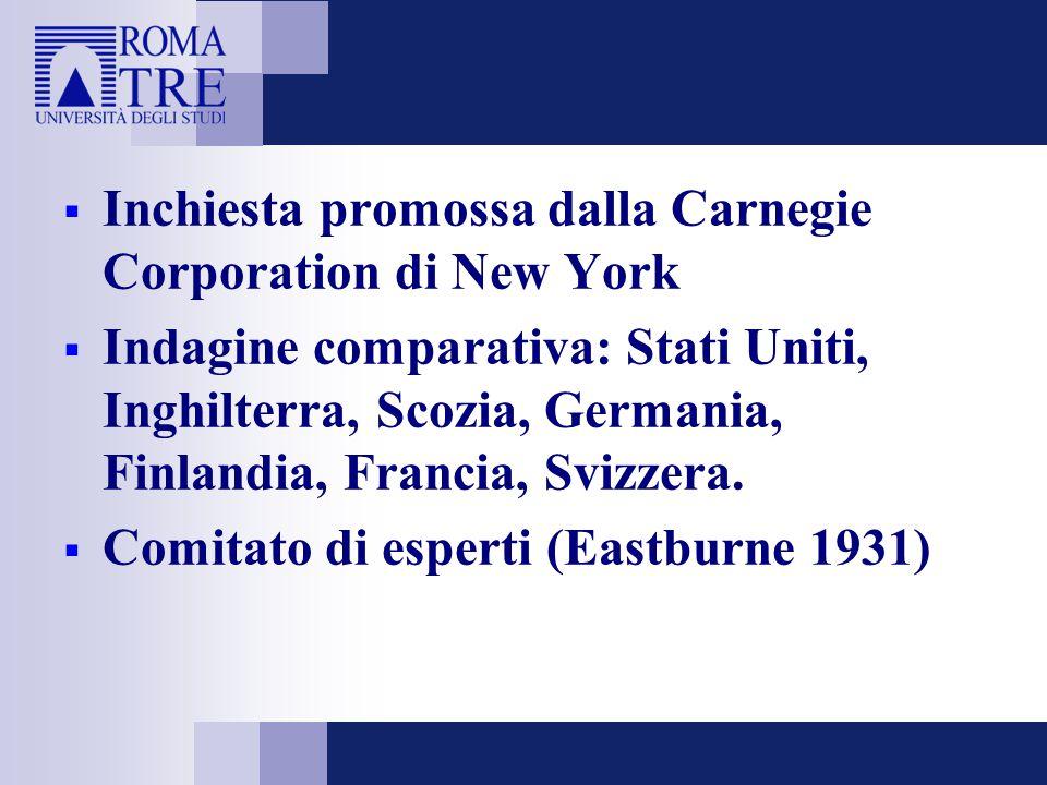  Inchiesta promossa dalla Carnegie Corporation di New York  Indagine comparativa: Stati Uniti, Inghilterra, Scozia, Germania, Finlandia, Francia, Svizzera.