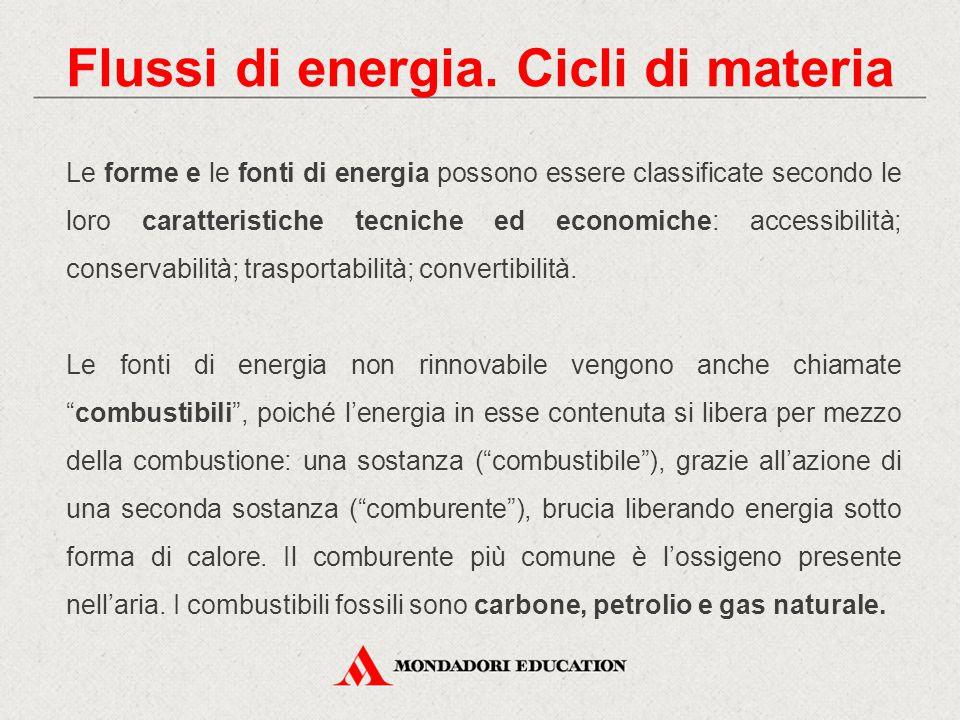 Flussi di energia. Cicli di materia Le forme e le fonti di energia possono essere classificate secondo le loro caratteristiche tecniche ed economiche: