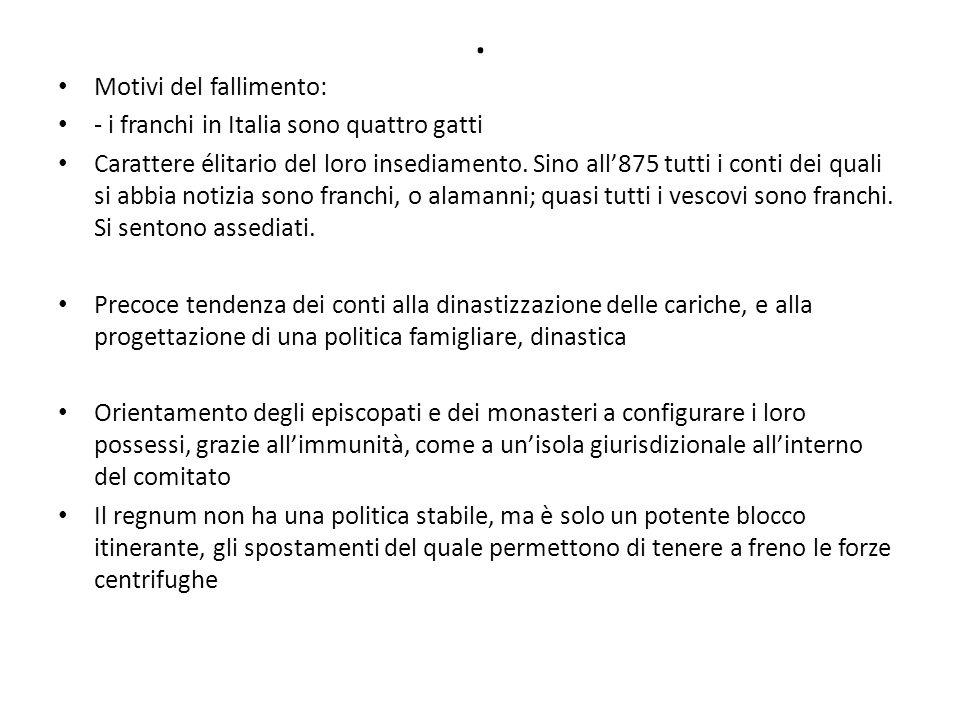 . Motivi del fallimento: - i franchi in Italia sono quattro gatti Carattere élitario del loro insediamento. Sino all'875 tutti i conti dei quali si ab