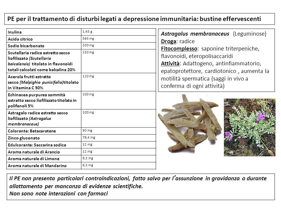 PE per il trattamento di disturbi legati a depressione immunitaria: bustine effervescenti Inulina 1,43 g Acido citrico 565 mg Sodio bicarbonato 330 mg