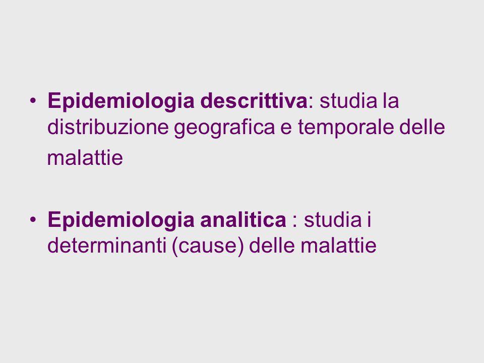 Epidemiologia descrittiva: studia la distribuzione geografica e temporale delle malattie Epidemiologia analitica : studia i determinanti (cause) delle