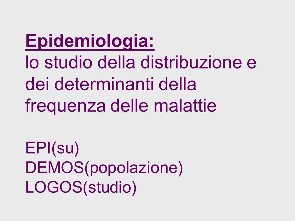 Epidemiologia: lo studio della distribuzione e dei determinanti della frequenza delle malattie EPI(su) DEMOS(popolazione) LOGOS(studio)