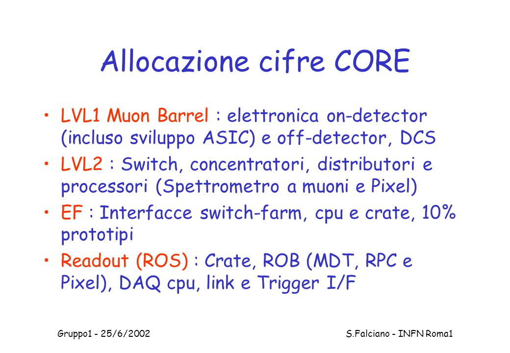 Gruppo1 - 25/6/2002 S.Falciano - INFN Roma1 Allocazione cifre CORE LVL1 Muon Barrel : elettronica on-detector (incluso sviluppo ASIC) e off-detector, DCS LVL2 : Switch, concentratori, distributori e processori (Spettrometro a muoni e Pixel) EF : Interfacce switch-farm, cpu e crate, 10% prototipi Readout (ROS) : Crate, ROB (MDT, RPC e Pixel), DAQ cpu, link e Trigger I/F