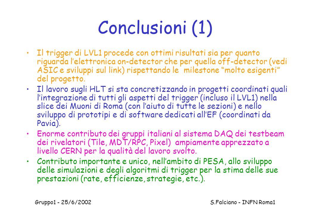 Gruppo1 - 25/6/2002 S.Falciano - INFN Roma1 Il trigger di LVL1 procede con ottimi risultati sia per quanto riguarda l'elettronica on-detector che per quella off-detector (vedi ASIC e sviluppi sul link) rispettando le milestone molto esigenti del progetto.