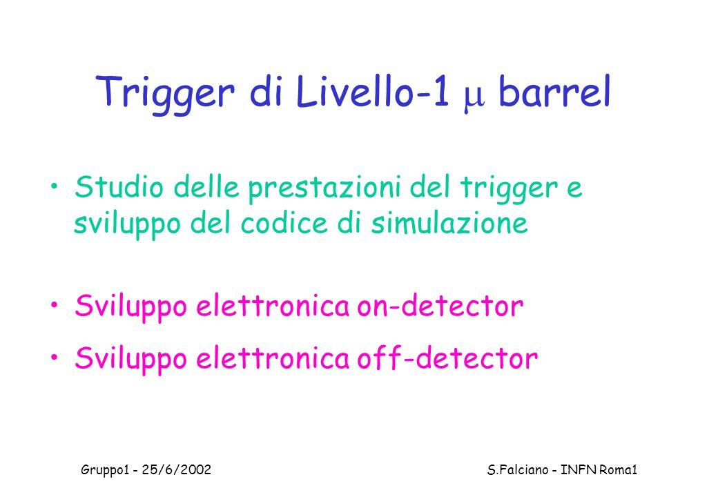 Gruppo1 - 25/6/2002 S.Falciano - INFN Roma1 Trigger di Livello-1  barrel Studio delle prestazioni del trigger e sviluppo del codice di simulazione Sviluppo elettronica on-detector Sviluppo elettronica off-detector