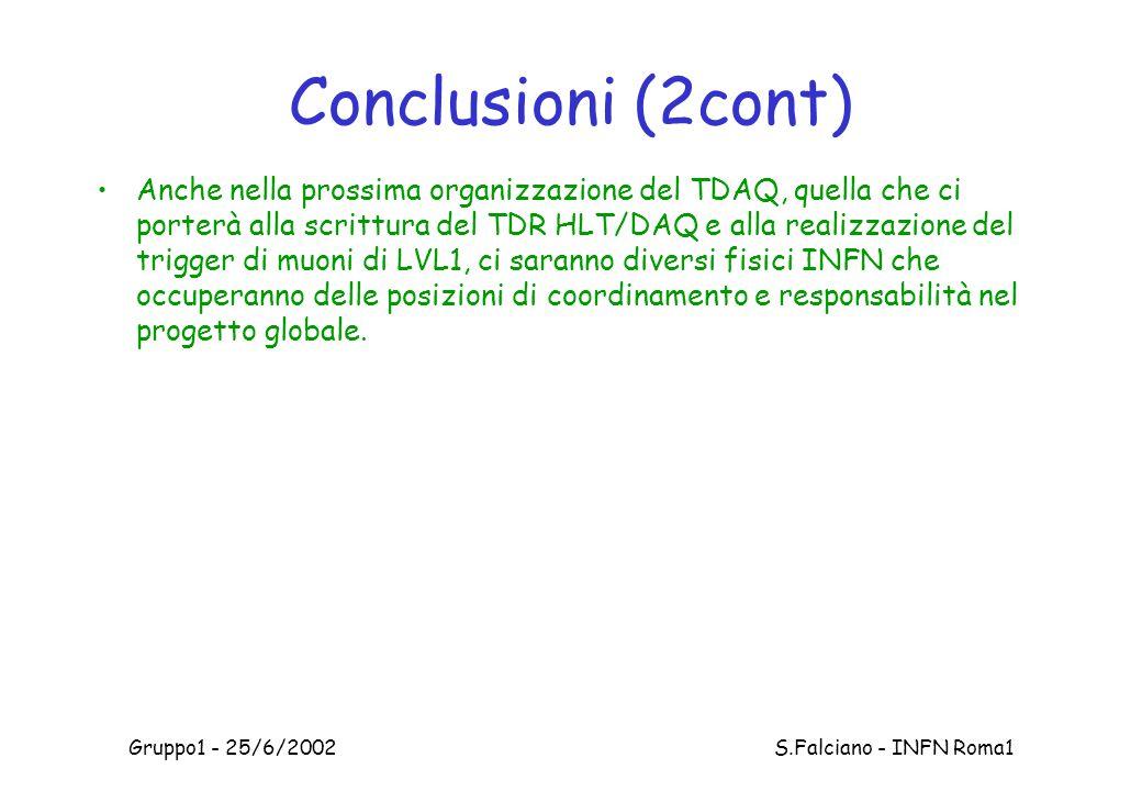 Gruppo1 - 25/6/2002 S.Falciano - INFN Roma1 Anche nella prossima organizzazione del TDAQ, quella che ci porterà alla scrittura del TDR HLT/DAQ e alla realizzazione del trigger di muoni di LVL1, ci saranno diversi fisici INFN che occuperanno delle posizioni di coordinamento e responsabilità nel progetto globale.
