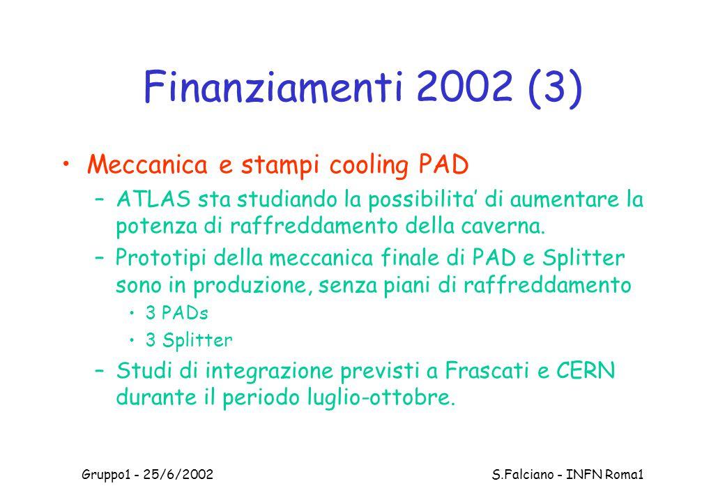 Gruppo1 - 25/6/2002 S.Falciano - INFN Roma1 Finanziamenti 2002 (3) Meccanica e stampi cooling PAD –ATLAS sta studiando la possibilita' di aumentare la potenza di raffreddamento della caverna.