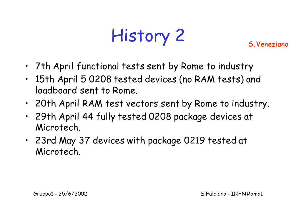 Gruppo1 - 25/6/2002 S.Falciano - INFN Roma1 History 2 7th April functional tests sent by Rome to industry 15th April 5 0208 tested devices (no RAM tests) and loadboard sent to Rome.