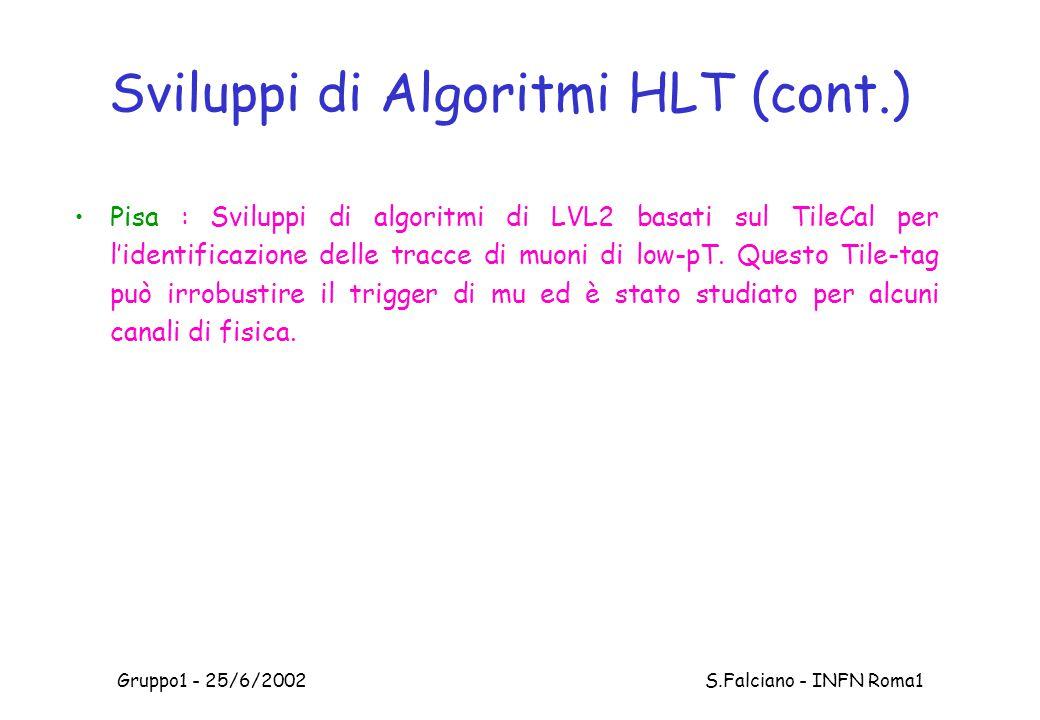 Gruppo1 - 25/6/2002 S.Falciano - INFN Roma1 Sviluppi di Algoritmi HLT (cont.) Pisa : Sviluppi di algoritmi di LVL2 basati sul TileCal per l'identificazione delle tracce di muoni di low-pT.