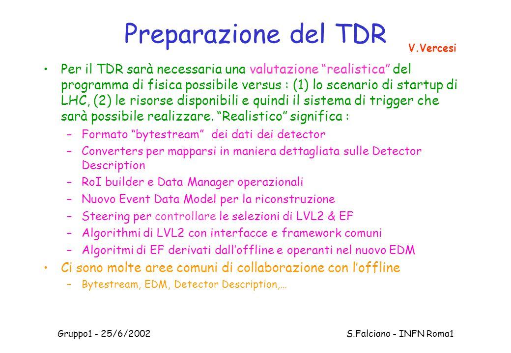 Gruppo1 - 25/6/2002 S.Falciano - INFN Roma1 Preparazione del TDR Per il TDR sarà necessaria una valutazione realistica del programma di fisica possibile versus : (1) lo scenario di startup di LHC, (2) le risorse disponibili e quindi il sistema di trigger che sarà possibile realizzare.