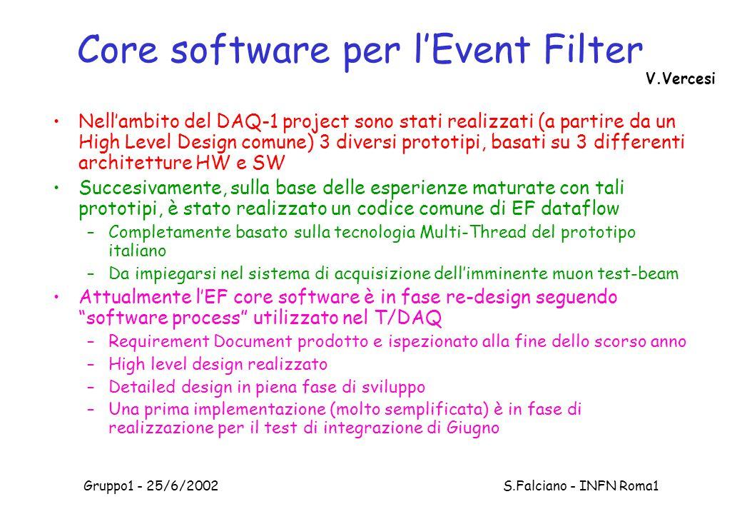 Gruppo1 - 25/6/2002 S.Falciano - INFN Roma1 Core software per l'Event Filter Nell'ambito del DAQ-1 project sono stati realizzati (a partire da un High Level Design comune) 3 diversi prototipi, basati su 3 differenti architetture HW e SW Succesivamente, sulla base delle esperienze maturate con tali prototipi, è stato realizzato un codice comune di EF dataflow –Completamente basato sulla tecnologia Multi-Thread del prototipo italiano –Da impiegarsi nel sistema di acquisizione dell'imminente muon test-beam Attualmente l'EF core software è in fase re-design seguendo software process utilizzato nel T/DAQ –Requirement Document prodotto e ispezionato alla fine dello scorso anno –High level design realizzato –Detailed design in piena fase di sviluppo –Una prima implementazione (molto semplificata) è in fase di realizzazione per il test di integrazione di Giugno V.Vercesi