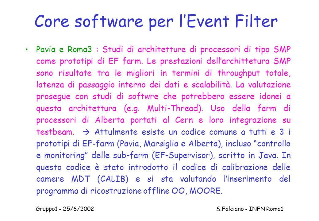 Gruppo1 - 25/6/2002 S.Falciano - INFN Roma1 Core software per l'Event Filter Pavia e Roma3 : Studi di architetture di processori di tipo SMP come prototipi di EF farm.