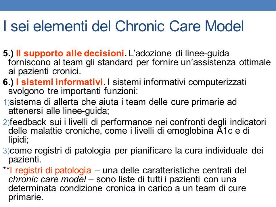 I sei elementi del Chronic Care Model 5.) Il supporto alle decisioni. L'adozione di linee-guida forniscono al team gli standard per fornire un'assiste