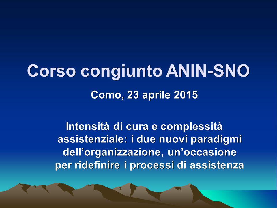 Corso congiunto ANIN-SNO Como, 23 aprile 2015 Intensità di cura e complessità assistenziale: i due nuovi paradigmi dell'organizzazione, un'occasione per ridefinire i processi di assistenza