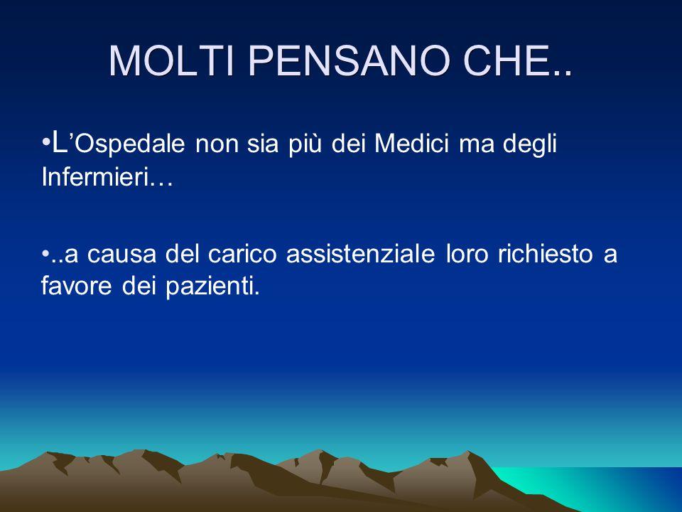MOLTI PENSANO CHE.. L 'Ospedale non sia più dei Medici ma degli Infermieri…..a causa del carico assistenziale loro richiesto a favore dei pazienti.