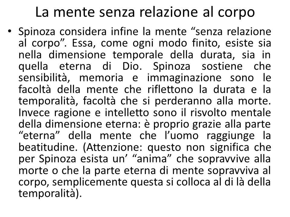 La mente senza relazione al corpo Spinoza considera infine la mente senza relazione al corpo .