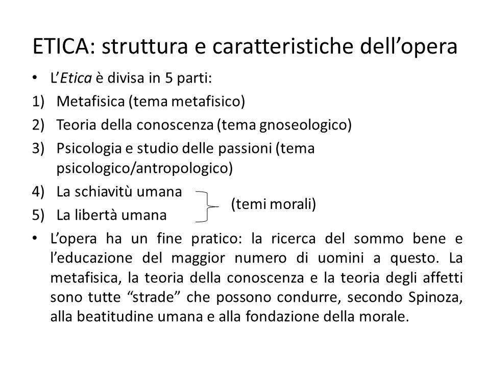 ETICA: struttura e caratteristiche dell'opera L'Etica è divisa in 5 parti: 1)Metafisica (tema metafisico) 2)Teoria della conoscenza (tema gnoseologico