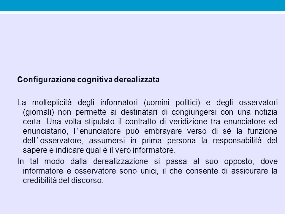 Configurazione cognitiva derealizzata La molteplicità degli informatori (uomini politici) e degli osservatori (giornali) non permette ai destinatari d