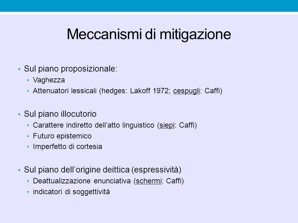 Meccanismi di mitigazione Sul piano proposizionale: Vaghezza Attenuatori lessicali (hedges: Lakoff 1972; cespugli: Caffi) Sul piano illocutorio Caratt