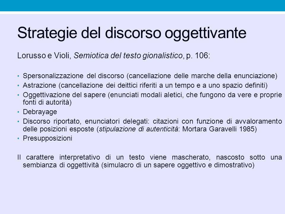 Strategie del discorso oggettivante Lorusso e Violi, Semiotica del testo gionalistico, p. 106: Spersonalizzazione del discorso (cancellazione delle ma