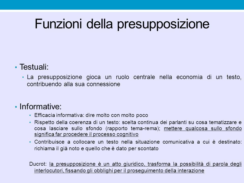 Funzioni della presupposizione Testuali: La presupposizione gioca un ruolo centrale nella economia di un testo, contribuendo alla sua connessione Info