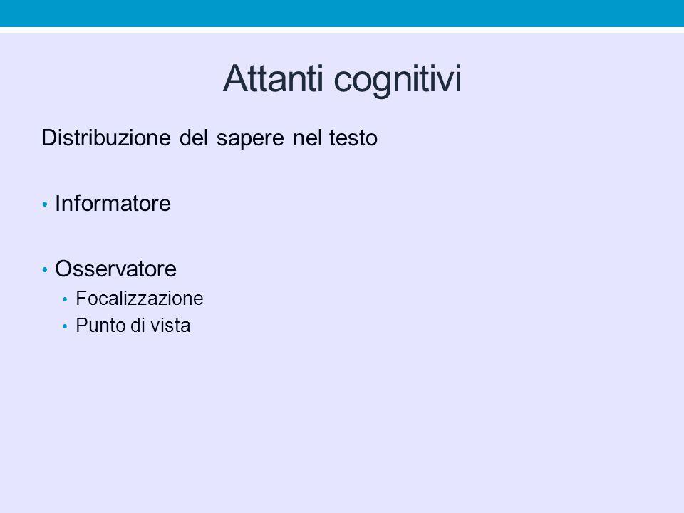 Attanti cognitivi Distribuzione del sapere nel testo Informatore Osservatore Focalizzazione Punto di vista