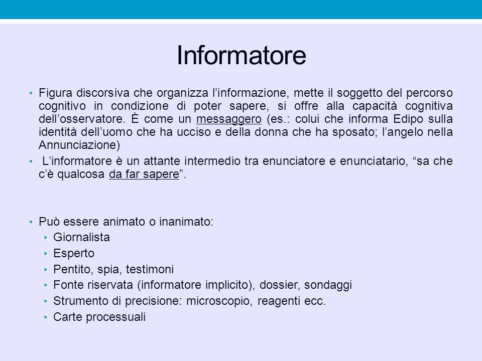 Informatore Figura discorsiva che organizza l'informazione, mette il soggetto del percorso cognitivo in condizione di poter sapere, si offre alla capa