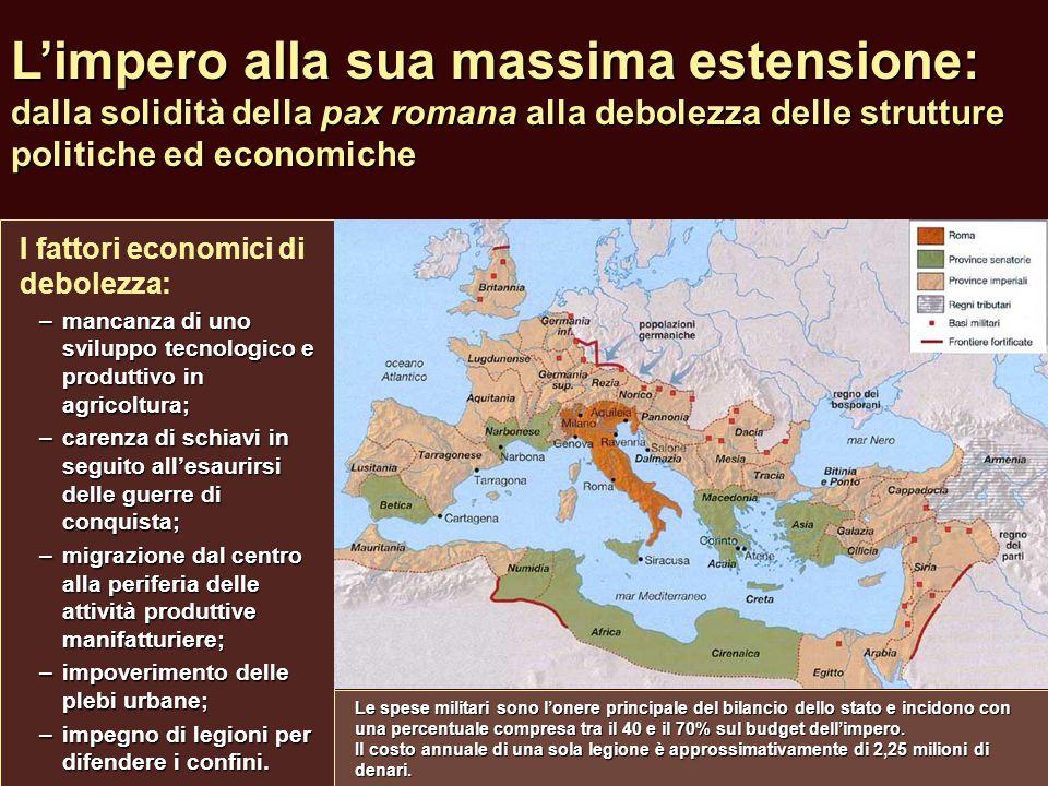 L'impero alla sua massima estensione: dalla solidità della pax romana alla debolezza delle strutture politiche ed economiche I fattori economici di de