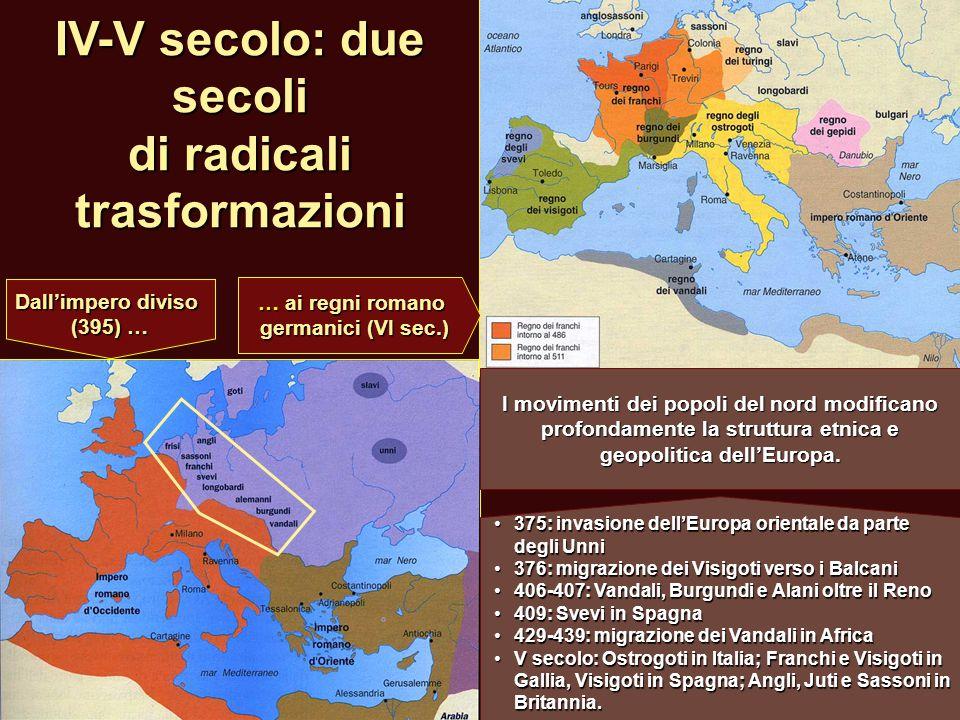 IV-V secolo: due secoli di radicali trasformazioni 375: invasione dell'Europa orientale da parte degli Unni 375: invasione dell'Europa orientale da pa