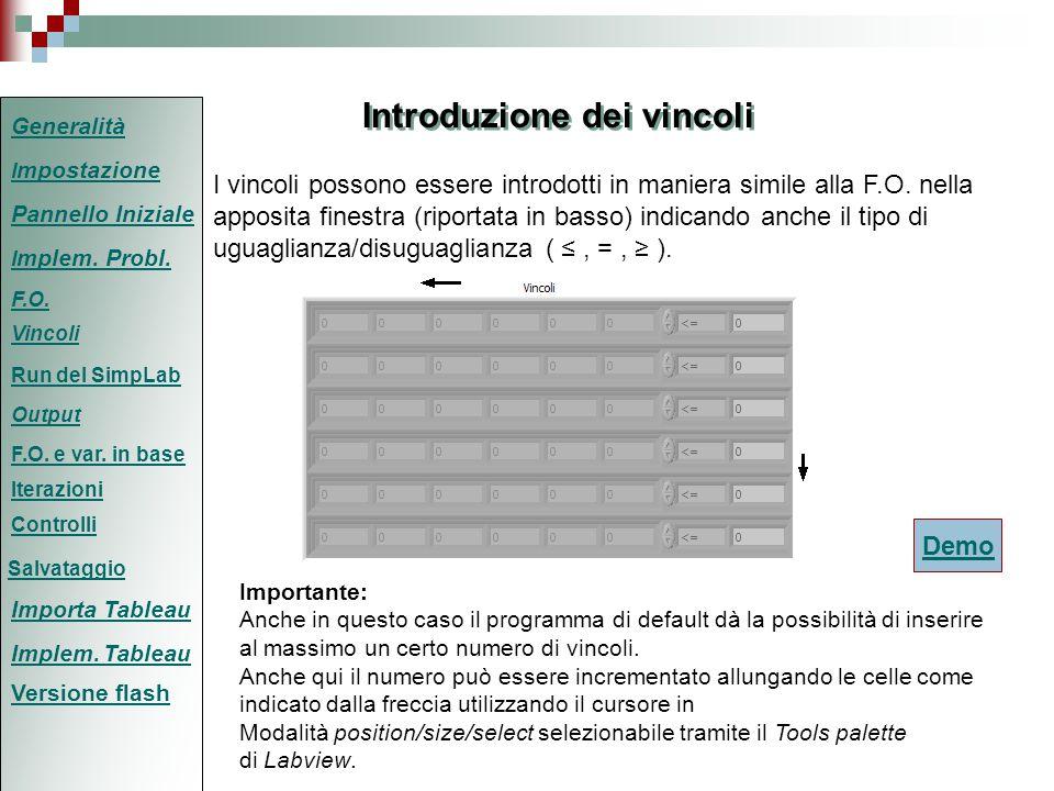 Modalità IMPLEMENTA TABLEAU (2/2) Una volta visualizzata la schermata relativa alla modalità in esame, le operazioni da effettuare saranno: 1)Compilare il tableau in maniera corretta secondo il metodo del simplesso standard; 2)Se il numero di righe o di colonne del tableau risultano insufficienti per il completo inserimento del tableau, aggiungere le righe o le colonne necessarie come mostrato dalla diapositiva animata (cliccare demo) Demo 3)Completare le operazioni come in modalità Implementa Problema Generalità I mpostazione F.O.