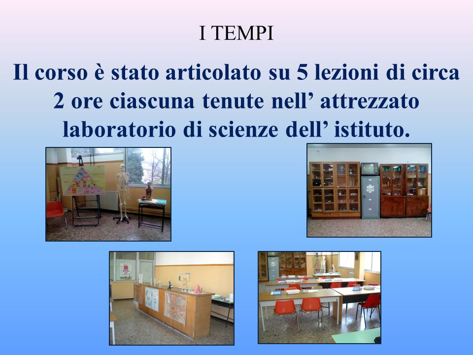 I TEMPI Il corso è stato articolato su 5 lezioni di circa 2 ore ciascuna tenute nell' attrezzato laboratorio di scienze dell' istituto.